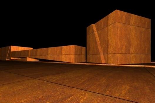 Esquemas volumétricos de estudo realizados na primeira etapa do projeto para o Centro de Arte Corpo