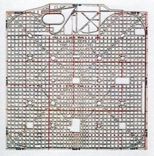 A cidade perfeita, papel, mapa de La Plata, Argentina, 20 x 20 cm. Jorge Macchi, 2003 [orge Macchi. Catálogo da 6ª Bienal do Mercosul]