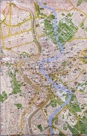 A maldição, papel, mapa de Roma, 57 x 40 cm. Jorge Macchi, 2003 [Jorge Macchi. Catálogo da 6ª Bienal do Mercosul]