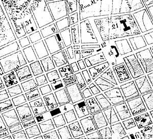 Mapa de Campinas, 1900. Na confluência das ruas Bernardino de Campos, Dr. Quirino e a Praça Bento Quirino aparece um vazio, um polígono que se transformaria na Praça Antonio Pompeo. O número 9 é referente à Igreja do Carmo e 33 o loca da Casa Livro Azul