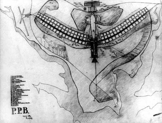 Desenho para o concurso do Plano Piloto, original de Lúcio Costa [Arquivo Público do Distrito Federal]