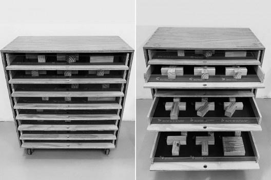 Materioteca finalizada<br />Foto Isabella Simões  [Acervo Fabricação, tectônica e projeto: catálogo de encaixes em madeira]