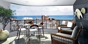 Figura 06 – Vista para o mar e o verde do manguezal. Representação da varanda do Edifício Alameda dos Pinheiros, Boa Viagem, veiculada em jornais dominicais [Moura Dubeux Engenharia, 2004]