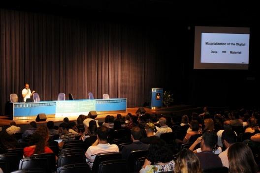 XIX Sigradi Florianópolis 2015, palestra de abertura pelo professor Fabio Gramazio da ETHZurich<br />Foto Hamilton Nogueira