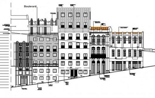 Fachada do projeto, com possibilidade de aprovação pelo Iphan, da rua do Taboão (de baixo). Assinalada a área do Boulevard<br />Catharina Teixeira