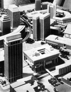 Figura 11 – Maquete do projeto da área central renovada e o conjunto modernista do centro cívico de Boston, EUA. Projeto de I.M.Pei [In Process # 97, 1991]