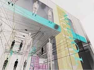 As transparências das superfícies elucidam o mais profundo desejo de interatividade que quebra os limites do espaço físico permitindo que o nosso corpo transponha as superfícies instantaneamente. Estudo para loja Toulon, Brasília<br />Ilustração Marcelo Maia