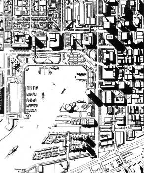 Figura 15 – Plano geral para a área central e portuária de Baltimore, EUA, onde se vê, no canto superior direito o Charles Center e o sistema de passarelas conectando-o com o Inner Harbor de Baltimore, EUA