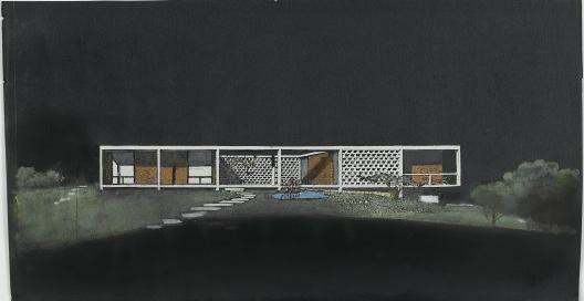 Casa Oswaldo Arthur Bratke, São Paulo, 1951-1954. Arquiteto Oswaldo Arthur Bratke <br />Inv.: AM 2009-2-329. Collection architecture du Musée national d'art moderne/Centre de cré  [Centre Pompidou © MNAM-CCI/Dist. RMN-GP]