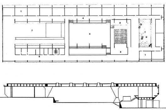 Figura 12 – Vilanova Artigas, Escola em Guarulhos, planta e corte transversal, São Paulo, 1960 [ARTIGAS, Rosa et alli (org)]