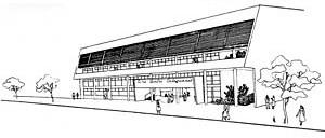 Croquis do Cine-Teatro e Clube Social, 1953. Arquitetos Aldary Henrique Toledo e Carlos Leão.  [L'Architecture d'aujourd'hui. Paris, n. 42-43, 1952, p. 86]