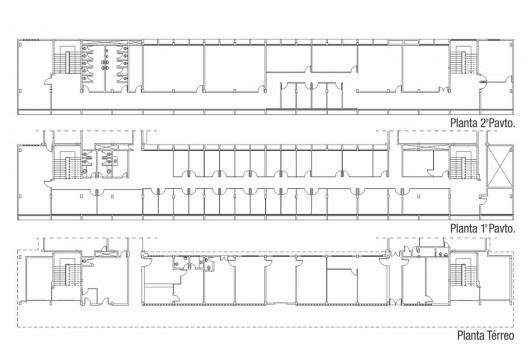 Plantas da situação atual edifício do Curso de Sociologia da UFC (1967) [Coordenadoria de Obras e Projetos da UFC]