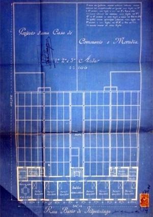 Figura 3 – Projeto para o terreno de propriedade do Arq. Julio de Abreu à Rua Barão de Itapetininga, parte da área posteriormente ocupada pelo Edifício e Galeria Califórnia [Arquivo Histórico Municipal Washington Luiz]