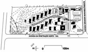 Figura 8 – Planta de Situação. Aldeia SOS do Amazonas <br />Desenho Mirian Keiko Ito Rovo