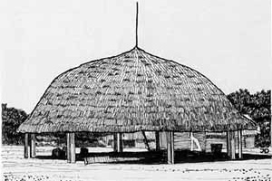 Figura 10 – Exemplo de casa indígena amazônica, utilizada para encontros da aldeia, construída em madeira e coberta por folhas de palmeira [Arquitetura Brasil 500 anos. Universidade Federal de Pernambuco, 2002. Volume 1]