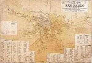 O histórico crescimento espraiado da cidade de São Paulo se mostra nesse mapa de 1905. Por volta de 130.730 habitantes [REIS FILHO, Nestor Goulart, 2004]