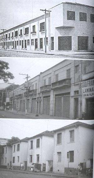 Sobrados na rua Barão de Jaguara, no Moóca, de Gregori Warchavchik, 1929; casas no Brás e sobrados no Brás, respectivamente [BONDUKI, 1998]