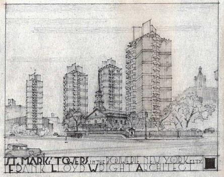 Figuras 7 – Frank Lloyd Wright, Saint Mark's Towers, Nova York, 1929 [the Frank Lloyd Wright Foundation]